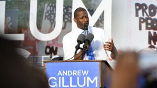 Florida Democratic gubernatorial nominee, Tallahassee Mayor Andrew Gillum, speaks to supporters at a rally.