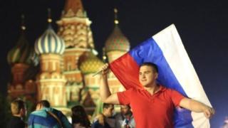 मॉस्कोमध्ये एक फुटबॉल चाहता