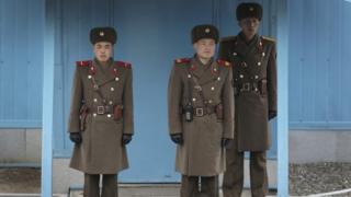 朝鮮半島の南北軍事境界線がある板門店で(3日)