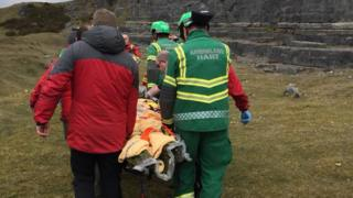 The man was flown by air ambulance to hospital