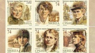 Stamps featuring Cpt Flora Sandes, Dr Katherine Stewart MacPhail, Dr Elsie Inglis, Dr Isabel Gallowey Hutton, Evelina Haverfield and Dr Elizabeth Ross