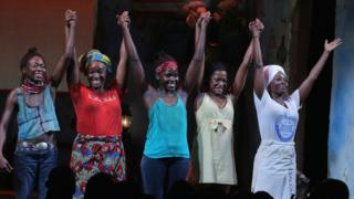 Lupita Nyong'o and the cast of Eclipsed on stage