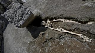 The skeleton of a victim of the eruption that destroyed Pompeii, was discovered during the most recent excavations carried out on the archaeological site in Pompei, Italy, 29 May 2018.