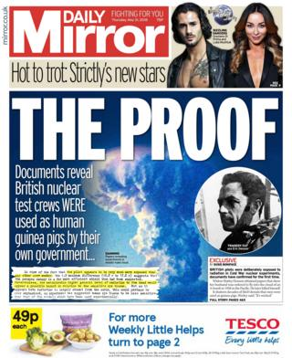 Daily Mirror front page - 31/05/18