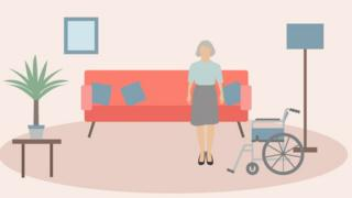 An animation of a woman in a home care environment