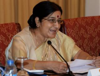 India's Minister of External Affairs Sushma Swaraj speaks during a meeting with Vietnamese Deputy Prime Minister and Minister of Foreign Affairs Pham Binh Minh (not pictured) in Hanoi on August 25, 2014.