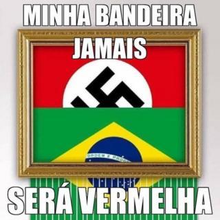 Bandeira nazista por trás da brasileira