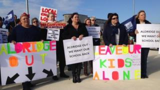 Protest at the school