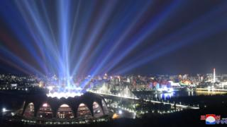 The May Day stadium lights up during Mass Games