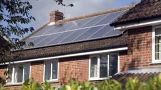 Solar panels on a house roof in England