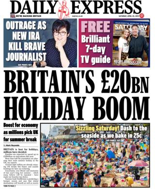 Daily Express front page 20/04/19