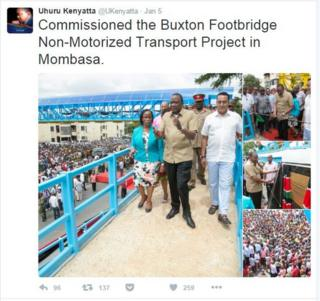 Image of President Kenyatta's tweet, showing him opening footbridge