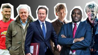 Image of famous Davids, Beckham, Attenborough, Cameron, Tennant, Lammy and Bowie