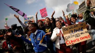 Technology Young activists march as part of the Global Climate Strike of the movement Fridays for Future, in Cape Town