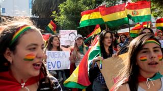 Women protest against Bolivia's President Evo Morales in La Paz, Bolivia, on 3 November
