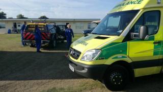 Emergency vehicles at Pakefield