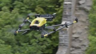 A drone flies over the Great Wall of China