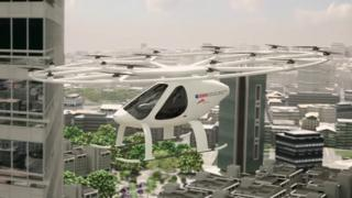 Still from video of Volocopter flying across city