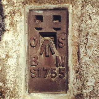 Flush bracket on the trig pillar at Trevose Head in Cornwall.