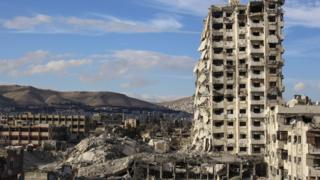 Destroyed 'Teacher's Tower' in Jobar, just east of Damascus