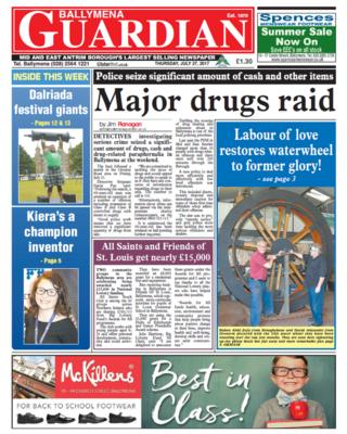 Front page Ballymena Guardian, Thursday 27 July