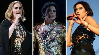 Adele, Michael Jackson and Dua Lipa