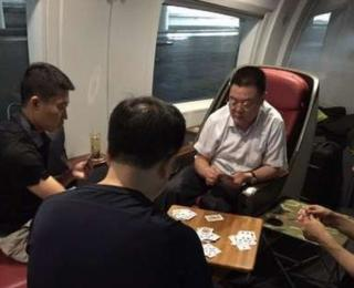 Police officials on train