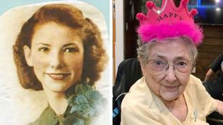 Montagem de duas fotos mostra Rose Marie Bentley quando jovem e já idosa