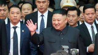 North Korean leader Kim Jong Un arrives at the Dong Dang railway station