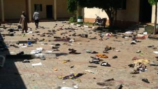 A general view of the scene after a suicide bomber detonated a bomb at a local government building in the Sabon Gari district of the city of Zaria, Kaduna State, northern Nigeria, 7 July 2015
