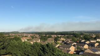 The smoke plume seen from Trowbridge