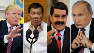 A composite image showing Presidents Trump, Duterte, Maduro, and Putin