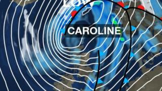 BBC Weather graphic of Storm Caroline