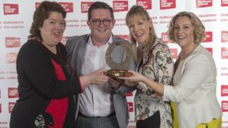 Paula McIntyre, John Toal, Maggie Doyle, and Mary Jane Smyth from The John Toal Show with their award at the Celtic Media Festival