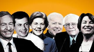 Steyer, Buttigieg, Warren, Biden, Sanders and Klobuchar
