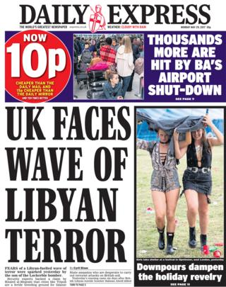 Daily Express front page - 29/05/17