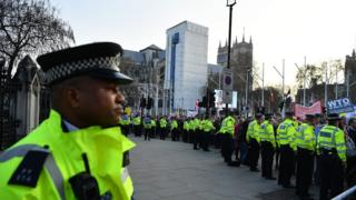 Police line outside the House of Commons in Parliament Square