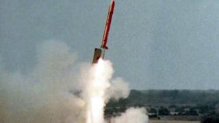 This photograph handed out by the Pakistani military shows the launch of the Hatf VII Babur missile during a test fire at an undisclosed location, 11 August 2005.