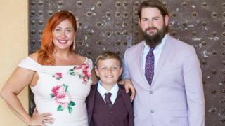 Amanda Faulkiner-Farrow with son Tristan and husband James