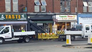 The scene on Kirkstall Road