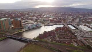 Belfast and the River Lagan from the sky