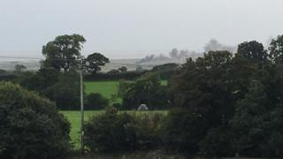 Potential crash scene at Caernarfon Airport