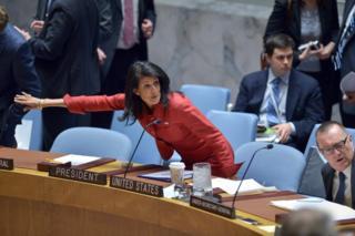 Представитель США Никки Хейли на экстренном заседании Совбеза ООН 7 апреля 2017 года