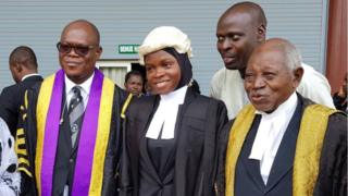 Amasa Firdaus wit some of her lecturers on di day of her call to bar