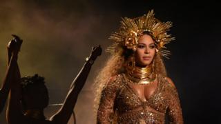 Beyonce on stage at the Grammys in February