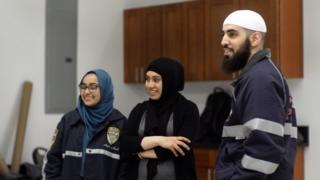 Noor Rabah with volunteers
