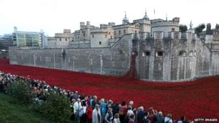 people queue to see poppies