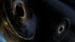 Моделювання, що демонструє злиття чорних дір, які рухаються по спіралі