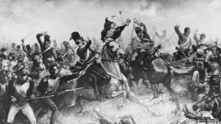 The British cavalry charge at the French infantry.