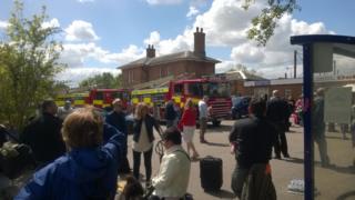 Fire crews at Welwyn North station